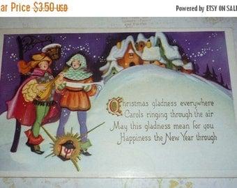 ON SALE till 7/28 Unique Vintage Christmas Postcard With Carolers