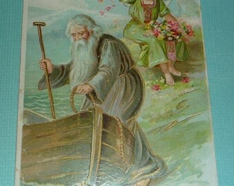 60% off till 8/15 Old Man Getting in Boat as Angel Throws Flowers Antique Embossed TUCK New Year Postcard