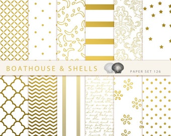 "GOLD PURE & SIMPLE Papers, 12 Digital Papers, Elegant Digital Scrapbook Paper (12"" x 12"", 300 dpi, jpg, rgb) - Download - Printable - 126"