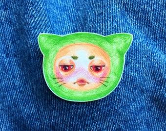 Hand Drawn Little Grumpy Green Kitty Cat Pin ~ Original Artwork