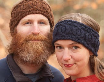 Cable Headband Knitting Pattern PDF, cable headband, mens headband pattern, womens headband pattern, cable headband, Triple Crowner Headband