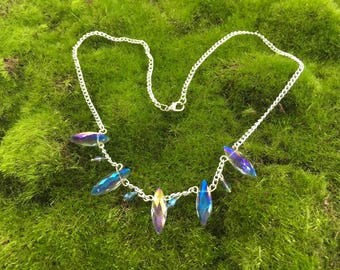 Blue Fire Ice Crystal Fantasy Necklace - Antique Gatsby Style