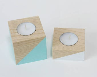 Wooden Candle holders / Set of 2 / Ash wood tealight holders / home decor / tea light / Colourful candle holders