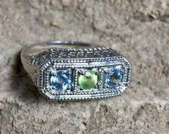 Aquamarine + Peridot Art Deco Filigree Edwardian Antique Sterling Silver 925  Ring sz 6