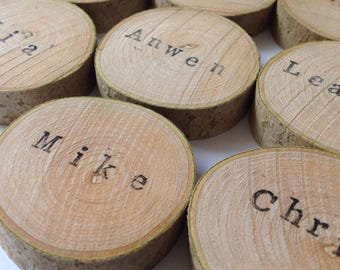 Ink personalised wood name place holders set of 10