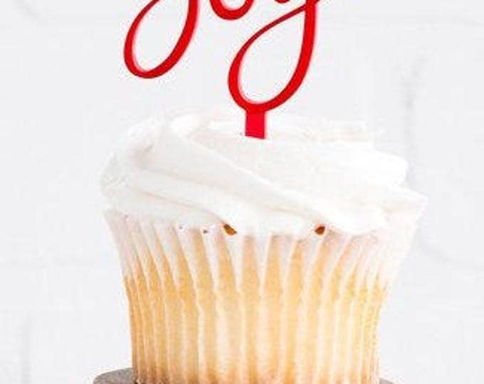 Christmas Cupcake Cupcake Topper, Christmas Toppers, Holiday Cupcake Topper, Christmas Decor, Joy to the World Holiday Decor, hyp410