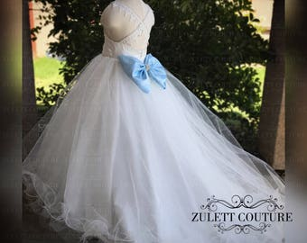 Birthday Dress - Mini Bride Dress - Flower Girl Dress  - Baptism Dress - Lace Girl Dress Shawna Dress to  Floor by Zulett Couture