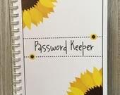 Alphabetical Internet Password Organizer with Divider Tabs - Sunflowers Design