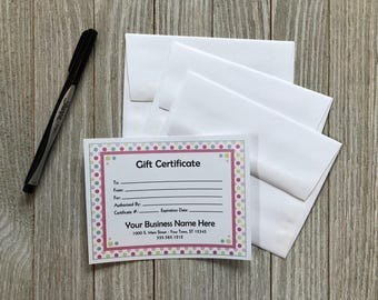 Polka Dot Design Gift Certificates with Your Business Name & Info + Envelopes