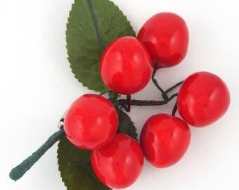 Large Vintage Cherries & Leaves Pin / Brooch
