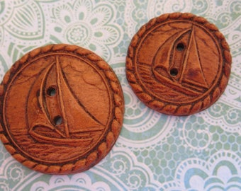 Pair Vintage pressed wood Sail boat Buttons - mother daughter