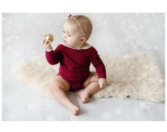 Burgundy Christmas Romper, Newborn Romper and Tieback, Christmas Prop Set, Sitter Romper, Baby Photo Prop, UK Seller