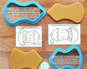 Whimsical Pencil Cookie Cutters Created with Sweet Sugar Belle - Tutorial Link Below - **Outline Guideline Sketches to Print Below**