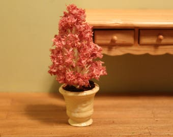 DOLLHOUSE MINIATURE Potted Pink Tree in Cream Urn