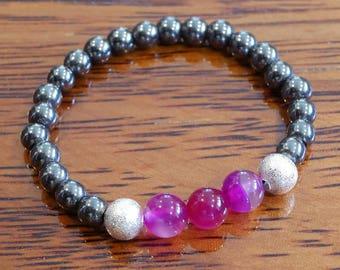 Genuine Hematite and Pink Striped Agate Gemstone Bracelet