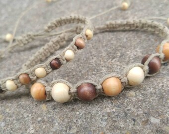Couples Beaded Hemp Bracelet Set Handmade, Wood Bead Bracelet, Hemp Jewelry, His Hers Bracelet Set, Hemp Bracelets, Jewelry.