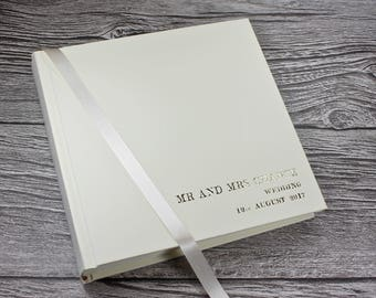 Personalised Wedding photo album in in ivory leather – matching clamshell box optional - 5 sizes available