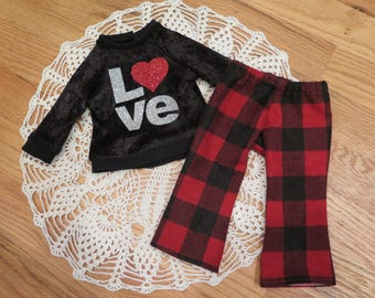 Ready to Ship! 18 Inch Doll Pajamas - Valentine's Day Pj's - Modern 18 Inch Doll Clothes - American Made Girl Doll Clothes