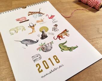 Illustrated Calendar - 2018 CALENDAR - Monthly calendar - Animals calendar  - wall art
