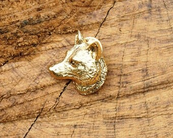 Wolf Head Gold Plated Pin Lapel Badge Wolf Gift