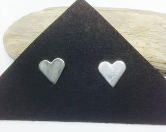 Sterling Silver Heart Stud Earrings, Wife Gift, Sterling Silver Jewelry, Handmade Hearts, Love Earrings, Mom Gift, Birthday Gift,