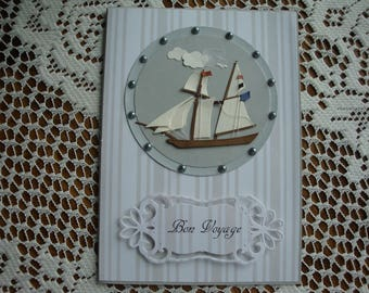 Bon Voyage, Masculine, Vacation, Sailing, Safe Travels, Thinking of You, Happy Birthday, Happy Retirement, 3 dimensional, Greeting Card
