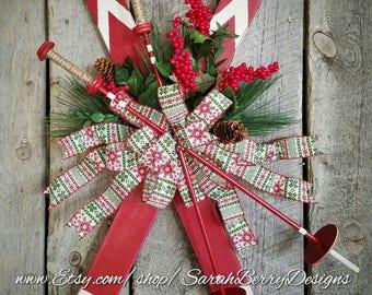 Ski Door Hanger- Front Door Wreath- Christmas Wreath - Skis - Winter Decor - & Ski wreath | Etsy