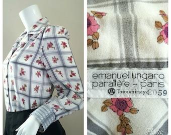 Floral Shirt Dress in Size 11 Medium by Emanuel Ungaro Paris.