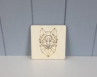"Geometric Coaster - Wolf - 100mm / 4"""