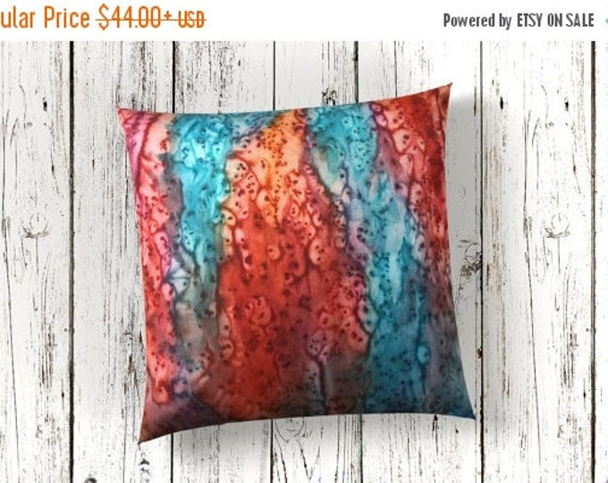 SALE Modern Decor Pillow Cover 18x18-Watercolor Silk Pillow-Boho Decor-Rustic Decor-Gift for Him