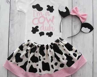 Cow Halloween Costume - baby halloween costume, first halloween, cow ears headband, cow halloween costume, comfortable baby costume