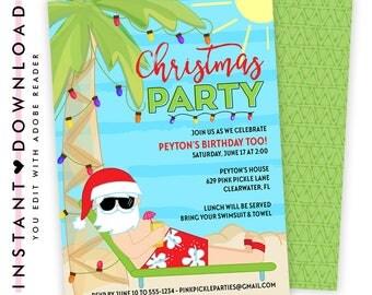 Beach Christmas Invitation, Beach Santa Invitation, Beach Christmas Invite, Santa Birthday Invitation, Christmas In July | 629