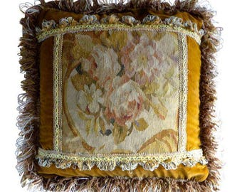 """SALE! Org 125.00 Vintage French Aubusson  Pillow With Floral Design 18"""" X 18"""" Velvet Backing Down Cushion"""