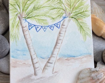 Destination/Beach/Tropical wedding card. Palm trees. Gay/Lesbian Wedding Card. Mr. and Mr.  Watercolor Wedding. Mrs. And Mrs. Hand-painted