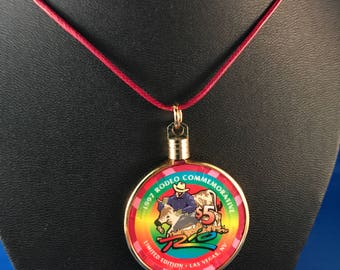 Up-cycled Casino poker chip necklace - Rio Casino Las Vegas  1997 rodeo commemorative chip