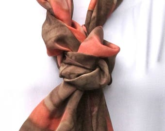 Scarf, handpainted silk, chocolate brown and coral pink-orange.  Painted silk scarf, pink and brown.