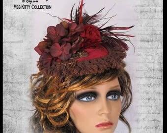 Steampunk Fascinator Victorian Burgundy Velvet