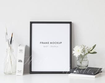 """Frame mockup - Stock photography - black - 8x10"""" - JPEG + PSD + Png files included"""