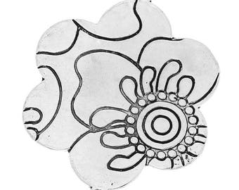 Ornate flower connector ornate antiqued silver tone - Dimensions: 4.9 cm x 3.8 cm REF: 1 B 31322