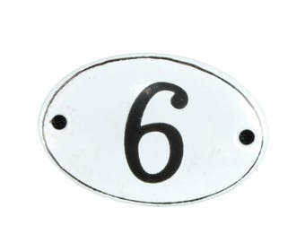 "Plate ""No. 6"" in white and black enamel"