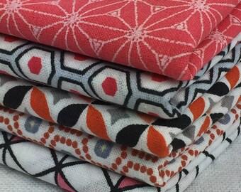Set of 5 fabric patchwork pink / ORANGE 45 x 50 cm