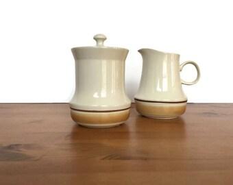 Vintage stoneware cream and sugar set Hearthstone water colors Japan