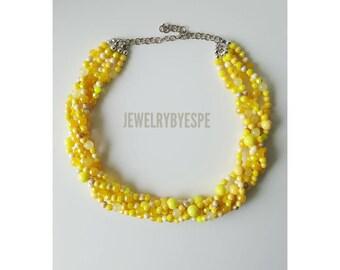 Bright Yellow Necklace Statement Necklace Chunky Multi Strand Necklace Yellow Wedding Statement Jewelry Layered Choker Bib Yellow