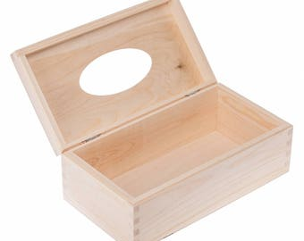 Unfinished wooden tissue box with open lid, unfinished  plain wood boxes, unfinished wooden tissue box cover, storage boxes, wooden boxes