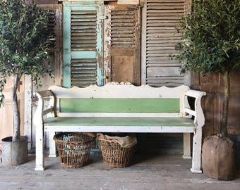 Pretty, rustic, vintage Gustavian style bench