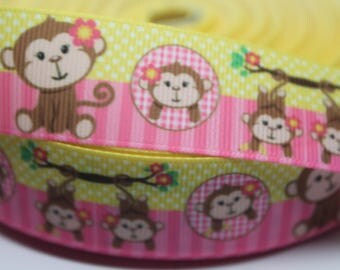 Monkey Ribbon 1 Inch Grosgrain Ribbon by the Yard for Hairbows, Scrapbooking, and More!!