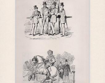 Randolph Caldicott sketch (HYDE PARK Out of the Season bookplate mounted