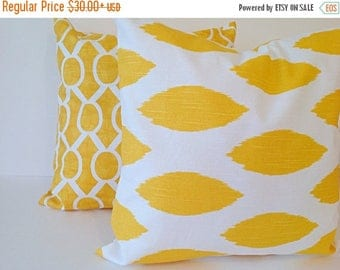 SALE YELLOW & WHITE,Mix Match,2 Set Decorative throw pillow Covers cotton,Modern,bold,designers pillow,Select a size