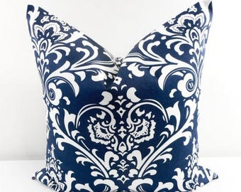 SALE Damask Pillow. Blue Pillow Cover. Blue Damask. Navy Blue and White. Cushion Covers.Pillow Case.1 piece. cotton.Select  size