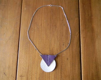 Necklace chain silver purple/white leather